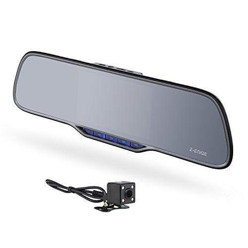 Z-EDGE Z2 Plus Dual Lens Dash Cam, Super HD 1296P Front & 720P Rear 5 Inch IPS Rearview Mirror Recorder, Front and Rear Dash Cam with Backup Camera , 150° Wide Viewing Angle ,G-Sensor, 16GB Card - Edge System