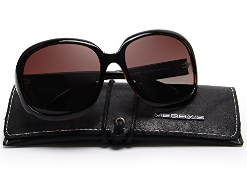 Oval Sunglasses Oversized (MERRY'S Women's Polarized Driving Sunglasses Fashion Oversized Sun glasses UV400 S6036 (Brown, 62))