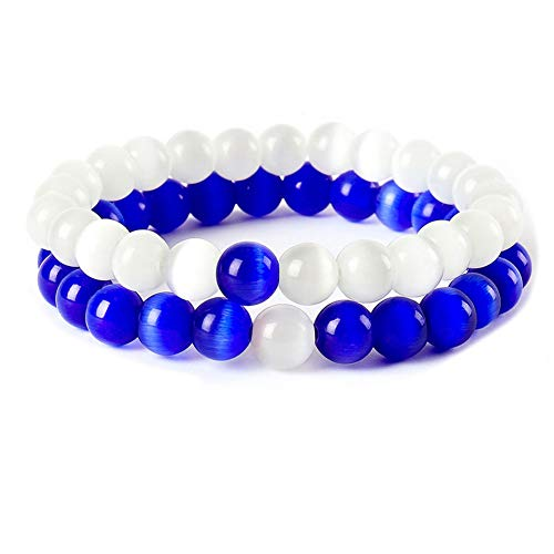 GVUSMIL Cat's Eye Distance Couple Bracelets His and Her Friendship 8mm Beads Bracelet Elastic Ying Yang Balance Gemstone Bracelet