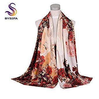 bysifa Beautiful Women Army Green Silk Scarf Shawl Spring Autumn New Lotus Design Long Scarves Chinese Vintage Buttons Ladies Scarves