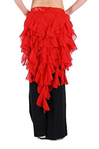 Bella Beaded Skirt (ZLTdream Women's Belly Dance Fox Triangle Waving Cut Hip Scarf with Tassel Red)
