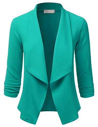 EIMIN Women's Lightweight Stretch 3/4 Sleeve Blazer Open Front Jacket Green S ()