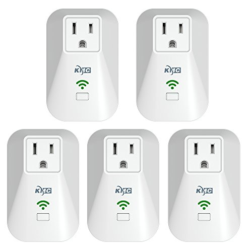 KMC WiFi Mini Smart Plug with Energy Monitoring and Schedule Timer Function, No Hub Required, Remote Control Light Switch Compatible with Alexa Echo and Google Assistant (5 ()