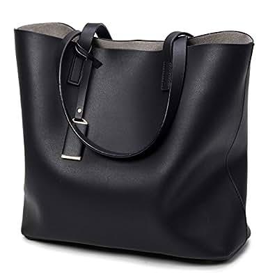 Myymee Women Microfiber Leather Shoulder Handbag Bucket Bag Casual Tote Black