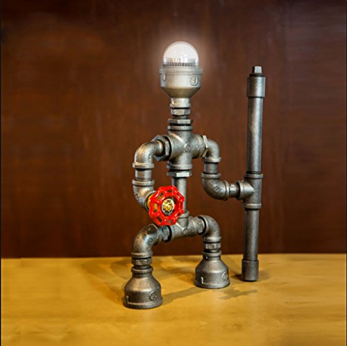 Retro Water Pipe Iron Art LOFT Study Desktop Eye Protection Table lamp/Personality Creative Industrial Wind Bedside Robot Table lamp Size: 2034cm by Table Lamps Q (Image #4)