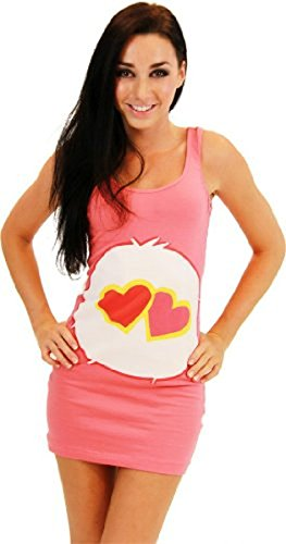 Care Bears Love-A-Lot Bear Coral Pink Costume Tunic Tank Dress (Love-A-Lot Bear) (Coral Pink) (Juniors X-Large)