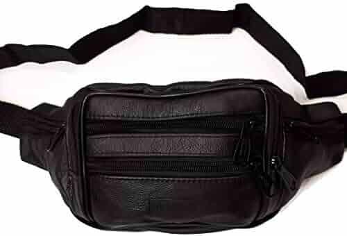 d70c27e9f Le Sac Leather Fanny Pack Money Waist Belt Black for Travel Sports Outdoors  6 pockets