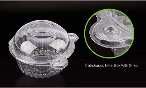 GOTOTOP 400pcs Cake Boxes-Clear Plastic Single Individual Cupcake Boxes Holder Muffin Case Patty Container Cupcake Car Cake Take Out Containers
