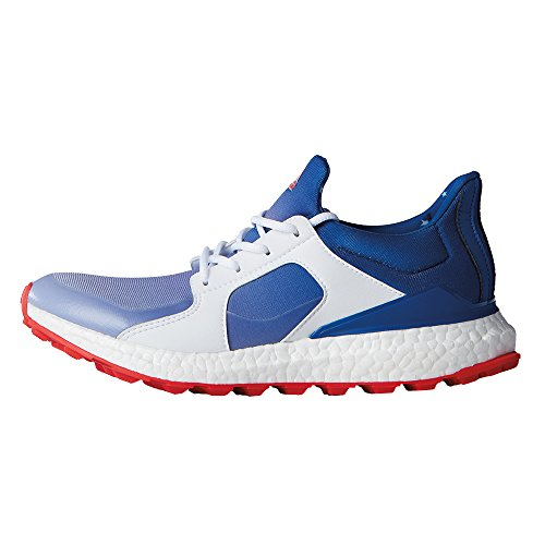 adidas Womens Climacross Boost Spikeless Golf Shoes, White/Blue/Red