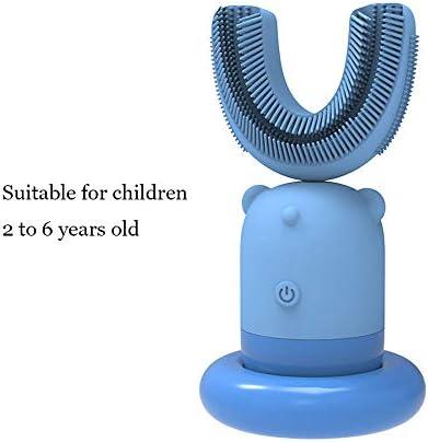 自動歯ブラシ、U字型歯ブラシソニック充電式電動歯ブラシ自動360度柔らかいシリコン歯ブラシ,D