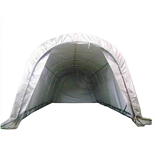 DELTA Canopies 20'x12' Carport Grey/White - Garage Storage Canopy Shed Car Truck Boat PE - Round -