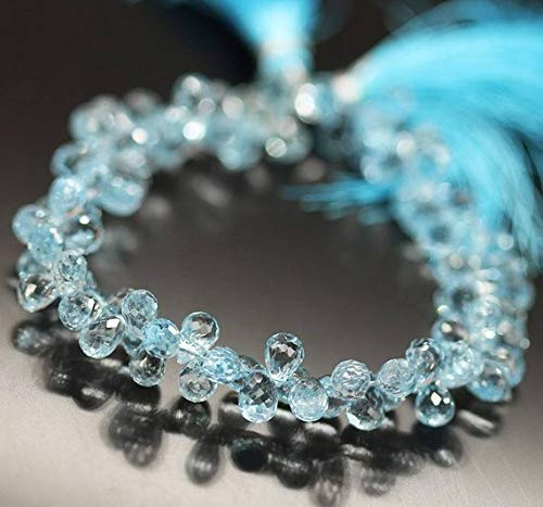 Beads Bazar Natural Beautiful jewellery Sky Blue Topaz Faceted Tear Drop Briolette Gemstone Craft Loose Beads Strand 8