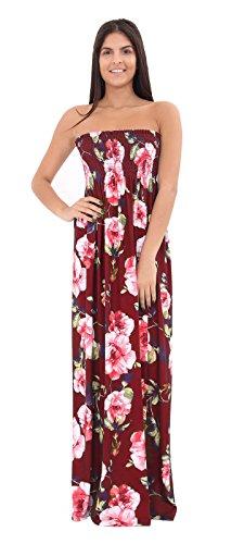 REAL LIFE FASHION LTD - Vestido - sujetador bandeau - Sin mangas - para mujer Wine Floral