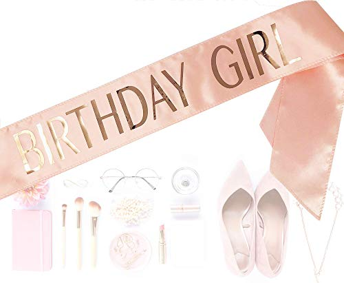 #glamist Birthday Sash for Girls - The perfect pink bday sash for women comes with included GoldGloss gold pin