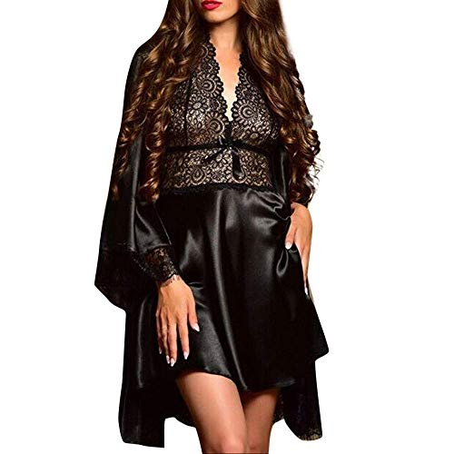 New Nightdress Set Women's Sexy Satin Lace Sleepwear Babydoll Lingerie Pajamas Nightwear Dress Ladies Cute Hot Tops Black L -