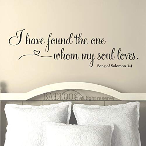 (BATTOO Master Bedroom Wall Decal - I Have Found The one whom My Soul Loves - Song of Solomon 3:4 Bible Verse Romantic Master Bedroom Decal 68
