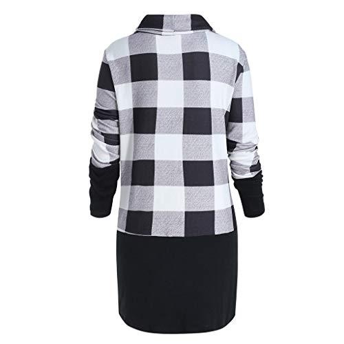 FORUU Women's Cowl Neck Plaid Drawstring Button Hoodie Sweatshirt Tunic Dress ()