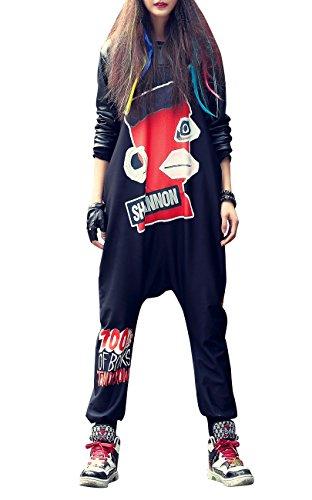 ELLAZHU Women Fashion Sleeveless Hippie Harem Jumpsuit Overalls OneSize GK202