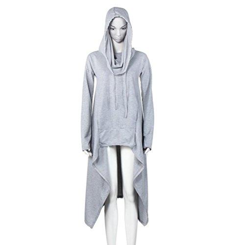 Egmy 2017 Dames Losse Hoodie Lange Sweatshirt Met Capuchon Asymmetrische Blouse Grijs