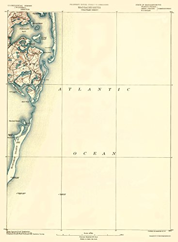 MAPS OF THE PAST Chatham Massachusetts Sheet - USGS 1890-23 x 31.35 - Glossy Satin Paper