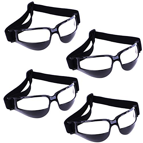 Olgaa Basketball Goggles Sport Dribble Specs Goggles Black Sports Goggles Dribbling Specs Basketball Training Aid for Teenagers Kids Gifts (4 Pieces)