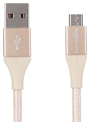 AmazonBasics Double Braided Nylon USB 2.0 A to Micro B Cable | 0.3 m, Gold
