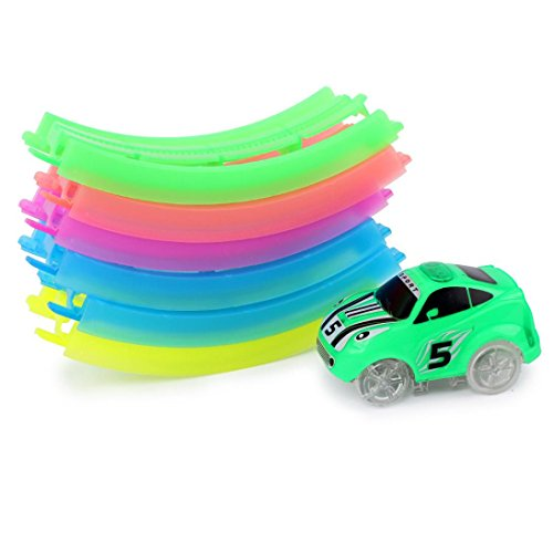 OULucicy LED Rotate Twister Car, Racing Luminous Tracks 6pc Block Set for Kids Birthday Gift Age 3 and Up, Vehicles Race Vehicle Series