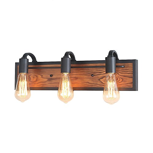 LNC 3 Rustic Bath Bathroom Black Lamps Wood Wall Sconces Vanity Lighting Fixtures, A03440