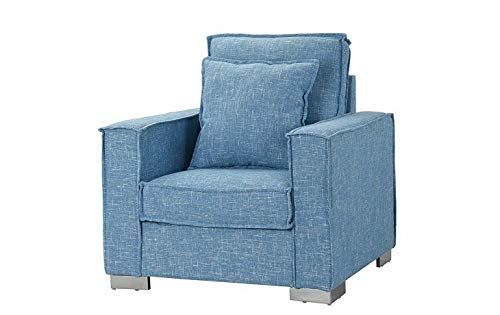- Monowi Living Room Large Linen Fabric Armchair, Modern Home Accent Chair, Blue | Model CCNTCHR - 189