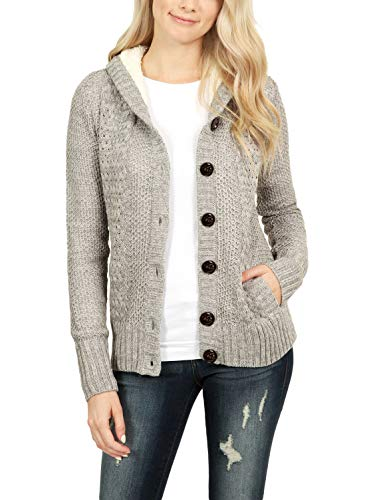 Sidefeel Women Hooded Cardigan Sweater Button Down Knit Coat Small Grey