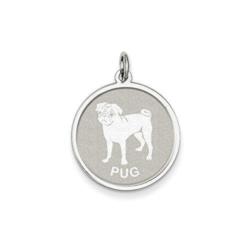 Mireval Sterling Silver Pug Disc Charm (26 x 19mm) (Silver Sterling Pug)