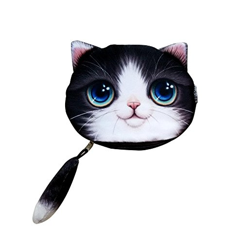 Cat Face Wallet, ABCmall Vivid Cute 3D Cat Head Tail Zipper Closure Bag Coin Purse Case (Purple) (Face Sweet Cat)