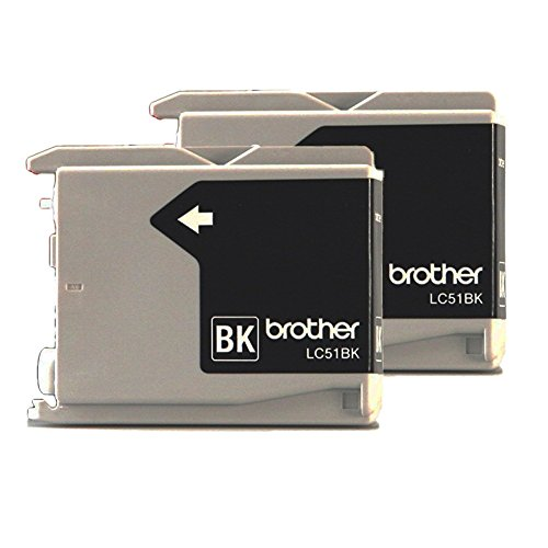 Genuine Brother LC-51 Black 2 Pack for Brother DCP-130C Fax-2480C IntelliFax-1360 IntelliFax-1860C MFC-240C MFC-465CN MFC-665CW MFC-845CW MFC-3360C MFC-5460CN MFC-5860CN - Black Ink Lc51
