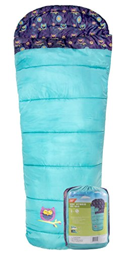 Slumber Sack (Red Cloud Camping Kid's Sleeping Bag; Great for Camping, Hiking, and Backpacking; Hooded Sleeping Bag; Kid's Mummy Bag; Kid's Hybrid Rec Bag; Teal; Free Stuff Sack Included)