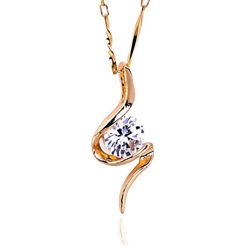 NickAngelo's S-SHAPED Pendant Necklace Elegant Fashion Jewelry (rose-gold-plated-copper, cubic-zirconia)