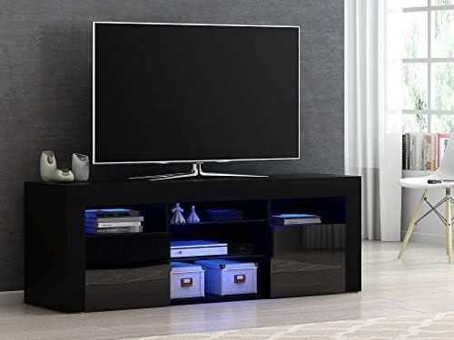 Mueble Moderno para TV, aparador de Alto Brillo con luz LED RGB, Muebles de salón de 4 Colores Negro: Amazon.es: Electrónica