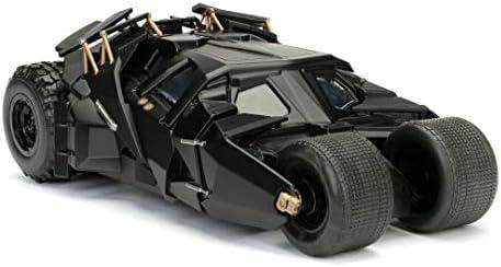 Jada Toys Batman The Dark Knight Batmobil, Auto, Spielzeugauto aus Die-cast, zu öffnende Türen, inkl. Batman Figur aus Die-cast, schwarz