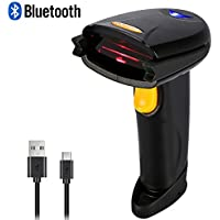Wireless Bluetooth4.0 & USB Wired Barcode Scanner, Portable Handheld 1D Bar Code Reader with Automatic Continuous Scan Inventory Mode via 16M Memory Storage for Computers mac ipad iphone Android Phone