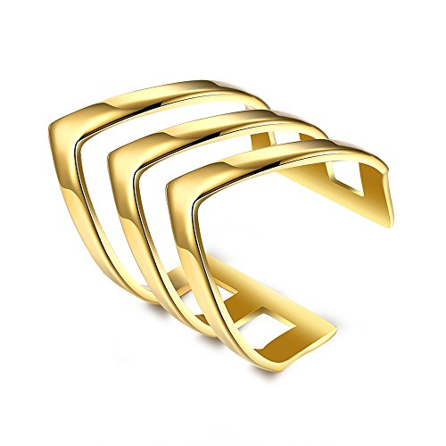 18K Gold-plated Woman Conical Three-ring Hollow Titanium Steel (Hollow Loose Ring)