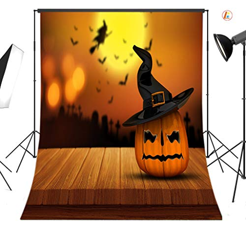 LB Halloween Photography Background 6x9ft Polyester Fabric Funny Pumpkin on The Wood Floor Background Halloween Party Decorations Portraits Photo Backdrop,Seamless Washable