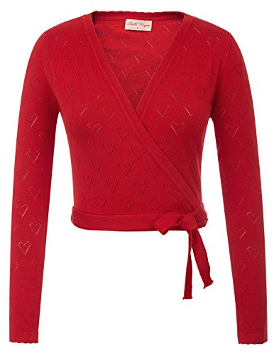 Belle Poque Women's V-Neck 3/4 Sleeve Cropped Knitting Coat Knitwear Red Size M BP741-2 (Advance Sleeve 3/4 Coat)