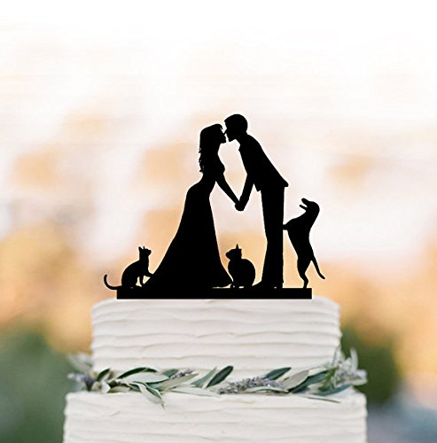 Price comparison product image Wedding Cake topper with Cat,  Wedding cake topper with dog. Topper with bride and groom silhouette,  funny cake topper,  family cake topper