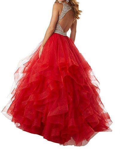 Rot Langes Prinzess A Abiballkleider Linie Partykleider Damen Abendkleider Abschlussballkleider Promkleider Charmant RqTxa4R