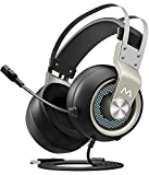 Mpow EG3 Gaming Headset, 7.1 Surround Sound Gaming Headphones, 50mm Driver, Stereo USB Computer Headset with Noise Cancelling Mic, Over Ear Soft Earmuff, LED Light, Easy Volume/Mic Control for PC, PS4