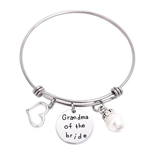 LParkin Grandma of The Bride Bangle Bracelet Heart Pearl Bracelets (Bangle-Bracelet)