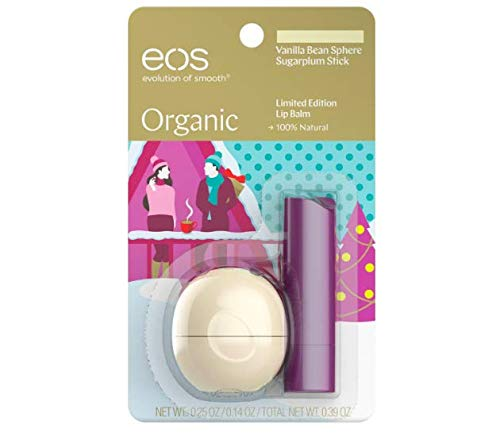 EOS Organic Vanilla Bean Sphere & Sugarplum Stick Limited Edition 2 pc. Set Holiday 2018 ()
