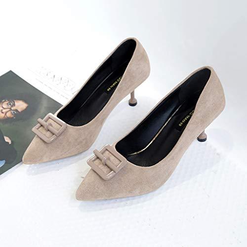 Talon — Cérémonie Style Elégant Sexy Mariage Kitipeng Chic 8 Chaussures Haut Kaki En Escarpin Soldes Aiguille Fête Femme Cm Suède Classique C04T45wq
