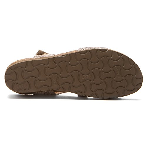 Naot Footwear Womens Pamela In Pelle Di Lucertola Grigio Sandalo Beige Serpente