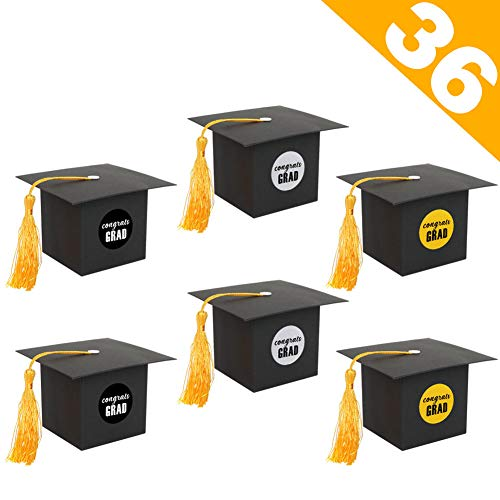 Sale!! AerWo 36Pcs Graduation Party Favors, Graduation Gift Box Grad Cap Boxes Graduation Candy Boxe...
