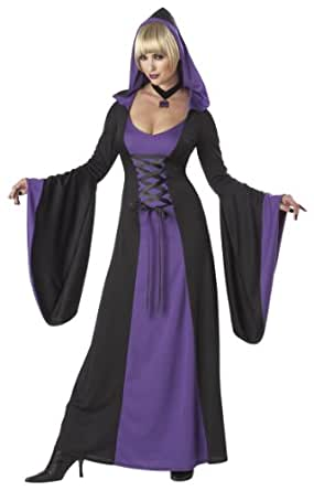 California Costumes Deluxe Hooded Robe Adult Costume, Purple/Black, Small